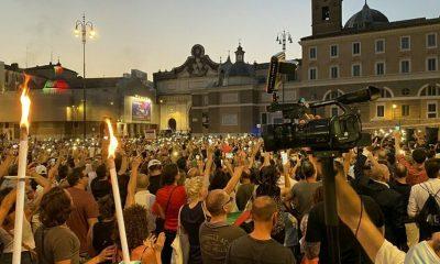 manifestazione no green pass piazza del popolo 28 luglio 2021